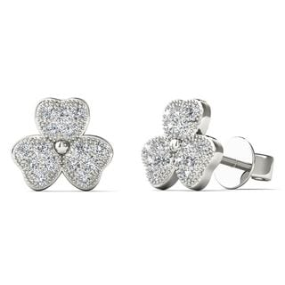 10k White Gold Diamond Accent Three Leaf Clover Stud Earrings (H-I, I1-I2)