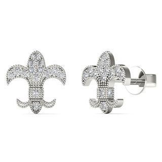 AALILLY 10k White Gold Diamond Accent Fish Stud Earrings (H-I, I1-I2)