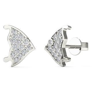 10k White Gold Diamond Accent Fish Fashin Stud Earrings (H-I, I1-I2)