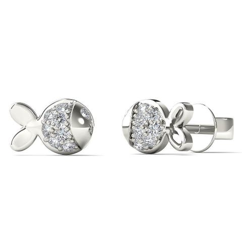 AALILLY 10k White Gold Diamond Accent Fish Tiny Stud Earrings