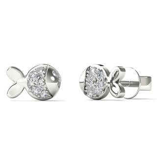 10k White Gold Diamond Accent Fish Tiny Stud Earrings (H-I, I1-I2)