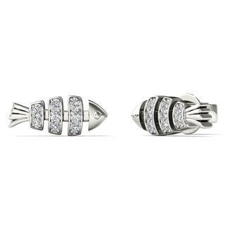 AALILLY 10k White Gold Diamond Accent Fish Bone Stud Earrings (H-I, I1-I2)
