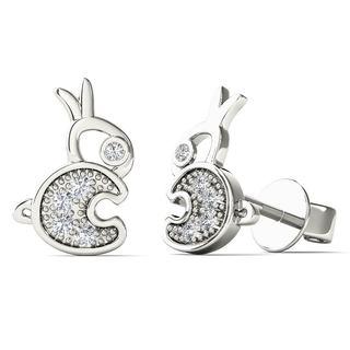 10k White Gold Diamond Accent Rabbit Tiny Stud Earrings (H-I, I1-I2)