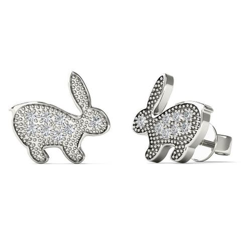 AALILLY 10k White Gold Diamond Accent Rabbit Stud Earrings (H-I, I1-I2)