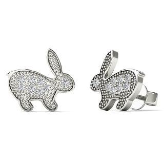 10k White Gold Diamond Accent Rabbit Stud Earrings (H-I, I1-I2)