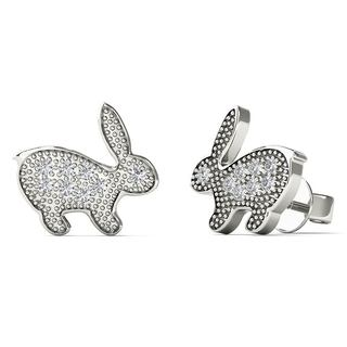 AALILLY 10k White Gold Diamond Accent Rabbit Stud Earrings (H-I, I1-I2)
