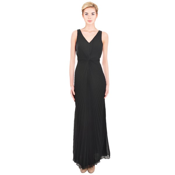 Shop Chetta B Timeless Black Pleated Long Evening Gown Ships To