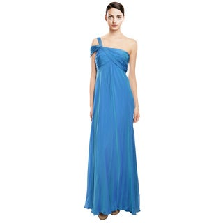 Carmen Marc Valvo Feminine Iridescent Blue Ruched Silk Evening Gown