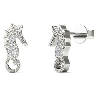 10k White Gold Diamond Accent Sea Horse Stud Earrings (H-I, I1-I2)