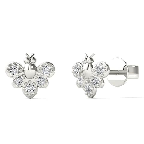 AALILLY 10k White Gold Diamond Accent Bumble Bee Stud Earrings