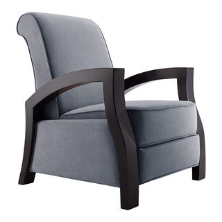 "Artiva USA  ""KUTA""  Solid Wood Java Black and Premium Grey Microvelvet Recliner"