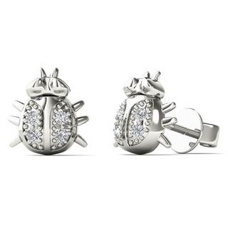 AALILLY 10k White Gold Diamond Accent Honey Bee Fashion Stud Earrings (H-I, I1-I2)