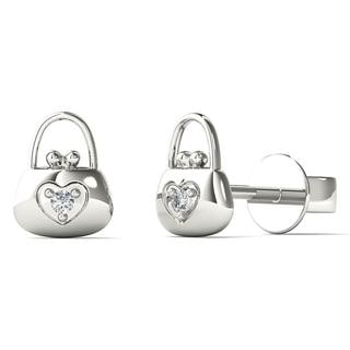 AALILLY 10k White Gold Diamond Accent Lock Stud Earrings (H-I, I1-I2)