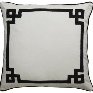 Tribal Pattern Ivory/Black Cotton Feather Filled Throw Pillow 20-inch