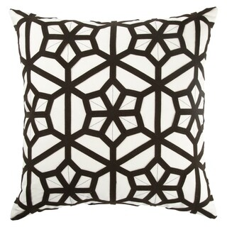 Tribal Pattern Ivory/Black Cotton and Wool Throw Pillow 22-inch