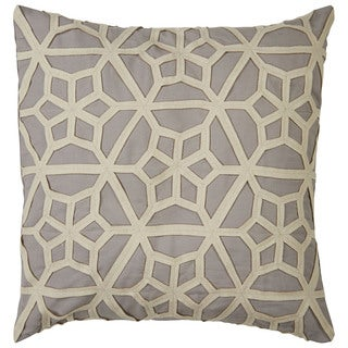 Tribal Pattern Gray/Taupe Cotton and Wool Throw Pillow 22-inch