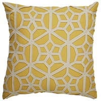 Tribal Pattern Yellow/Taupe Cotton and Wool Throw Pillow   22-inch