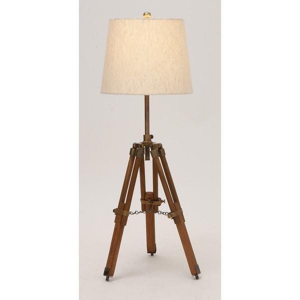Wood Metal Tripod Table Lamp