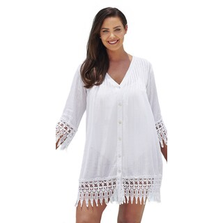 Crochet Trim White Cotton Cover Up