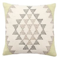 Tribal Pattern Ivory/Green Viscose and Cotton Throw Pillow  18-inch