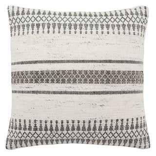 Tribal Pattern Ivory/Gray Rayon from Bamboo, Wool & Viscose Throw Pillow  20-inch