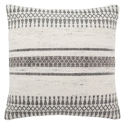 Tribal Pattern Ivory/Gray Throw Pillow 20-inch
