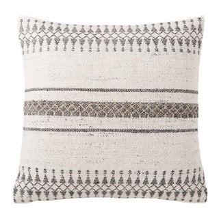 Tribal Pattern Ivory/Gray Feather Filled Throw Pillow