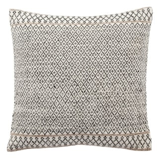 Tribal Pattern Ivory/Black Viscose and Wool Throw Pillow 18-inch