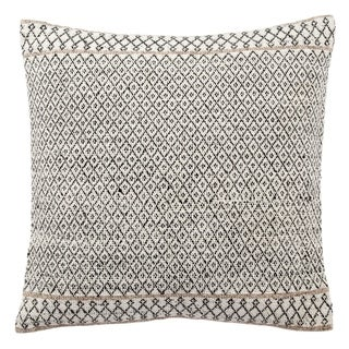 Tribal Pattern Ivory/Black Viscose and Wool Throw Pillow 18-inch (2 options available)