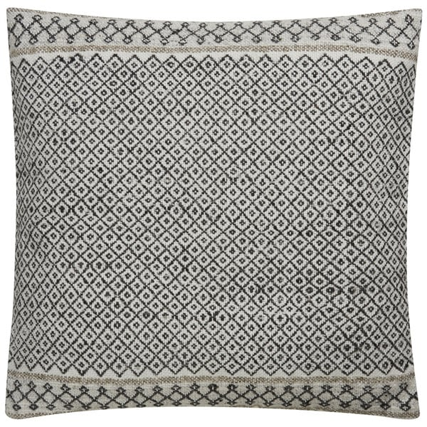 Tribal Pattern Ivory/Black Viscose and Wool Feather Filled Throw Pillow 18-inch. Opens flyout.