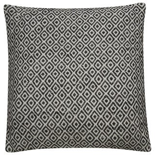 Tribal Pattern Ivory/Black Viscose and Rayon from Bamboo Throw Pillow 22-inch