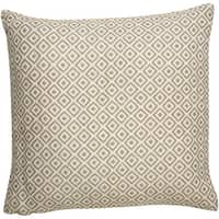 Tribal Pattern Ivory/Taupe Viscose and Linen Blend Throw Pillow 22-inch