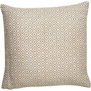 Tribal Pattern Ivory/Taupe Viscose and Linen Blend Feather Filled Throw Pillow 22-inch