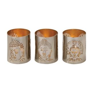 Silver Metal Buddha Votive Holders (Set of 3)
