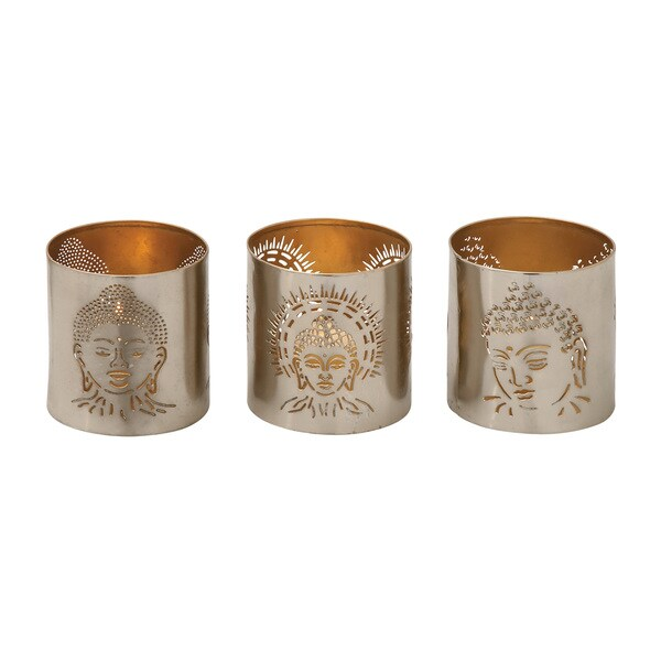 Silver Metal 3-inch Buddha Votive Holders (Set of 3)