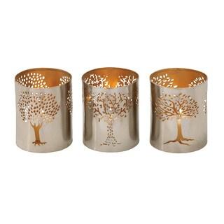 Silver Metal Tree Votive Holders (Set of 3)