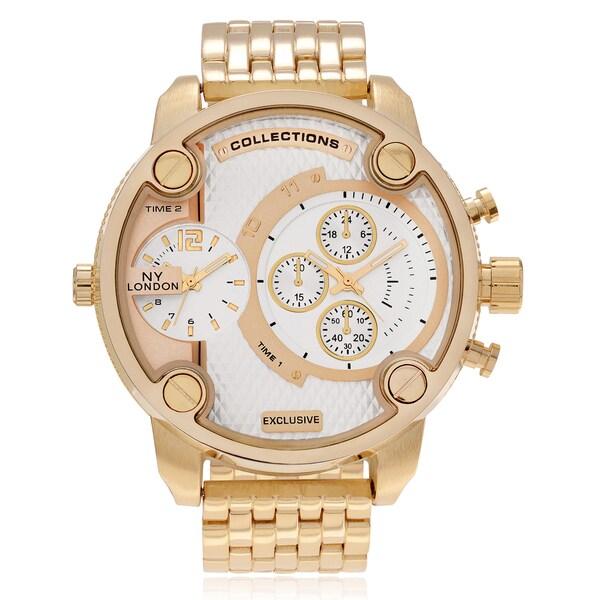 NY London Men's Goldtone Round Dual Time Zone Dial Link Bracelet Watch