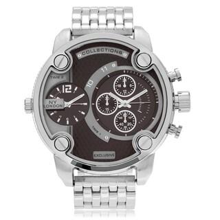 NY London Men's Silvertone Dual Time Zone Dial Link Bracelet Watch