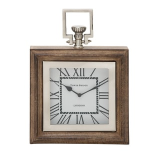 Wood Stain Steel Table Clock