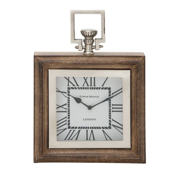 Wood Stain Steel Table Clock Free Shipping Today Overstock - Stain steel table