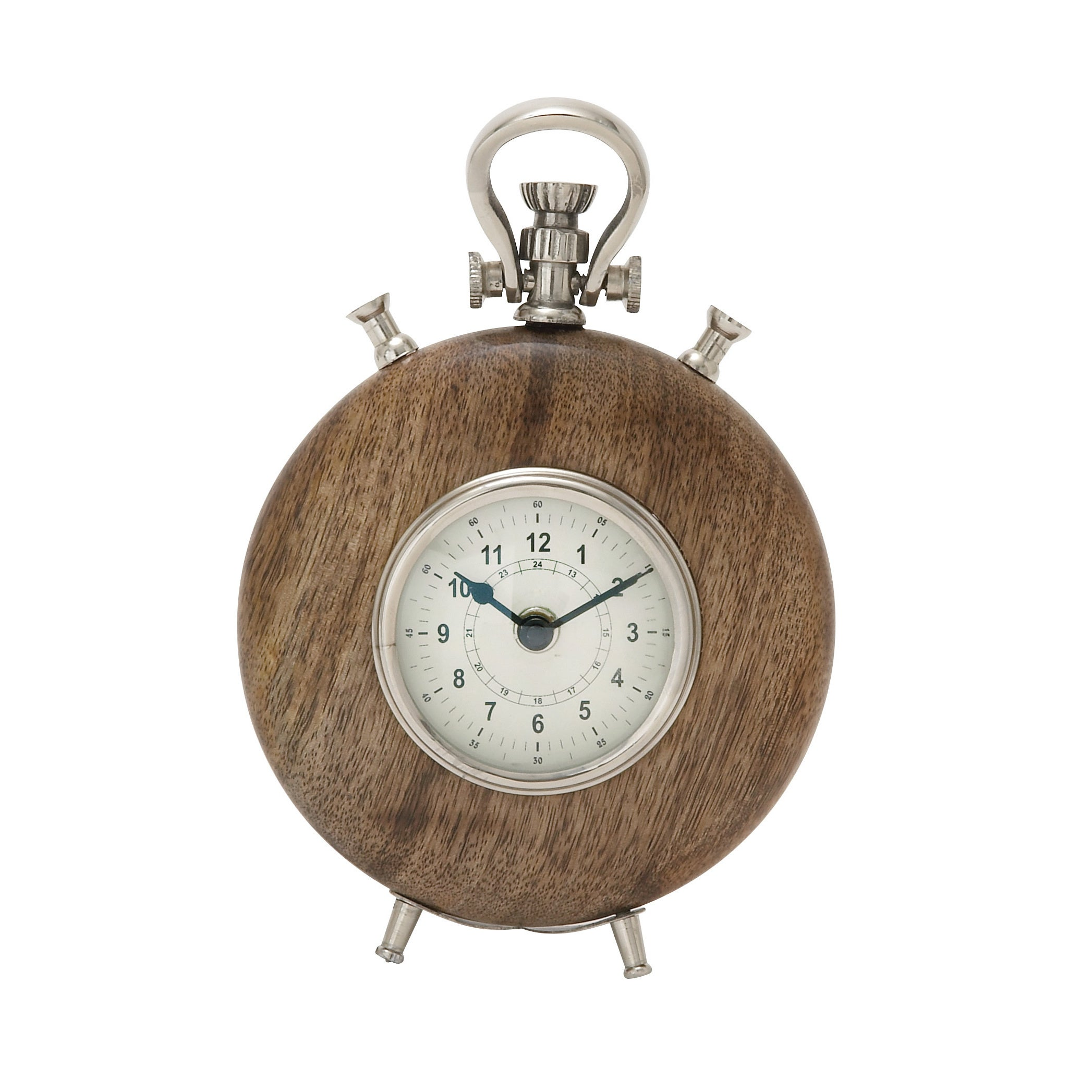 Wood Metal 9-inch Table Clock