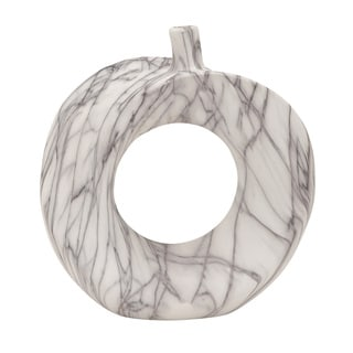 White Ceramic 11-inch Marble Vase