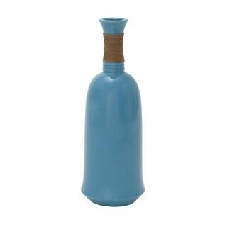 Blue Ceramic Jute Wrap Vase