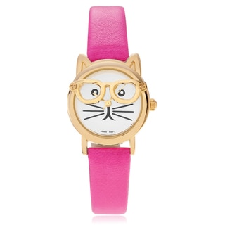 Geneva Platinum Women's Cat Face Leather Strap Watch