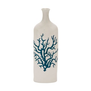 White/ Blue Ceramic Coral Vase