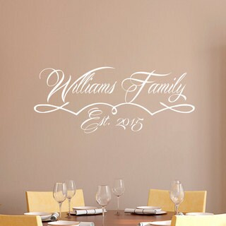 White Established Date Wall Art Decal Sticker