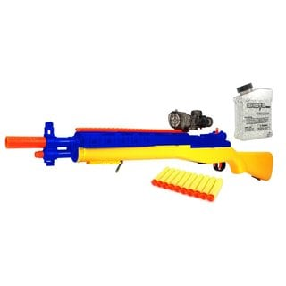 ToysMax YK Hero M14 Sniper Spring Powered Toy Foam Dart and Water Polymer Ball Shooting Gun with 10 Suction Darts, Clear Balls