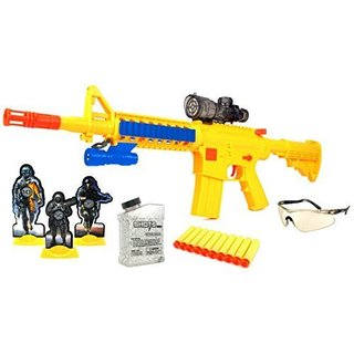 ToysMax YK Deluxe M16+ Spring Powered Toy Foam Dart and Water Polymer Ball Shooting Gun