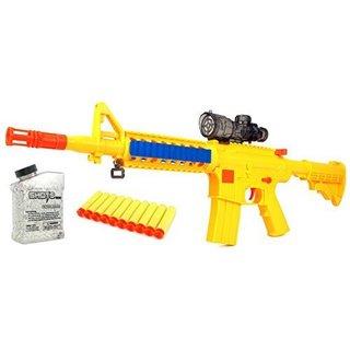 ToysMax YK Night Hawk M16+ Spring Powered Toy Foam Suction Dart and Water Gel Ball Shooting Gun