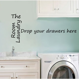 Laundry Room Decor Wall Quotes Drop Your Drawers Here Vinyl Decal Sticker Wash Room Bathroom Home Decor
